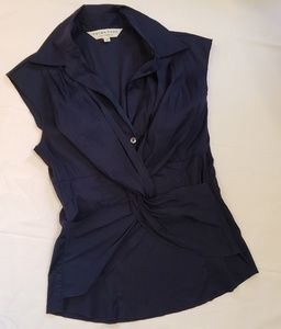 Trina Turk Navy Blue Cap Sleeve Wrap Blouse